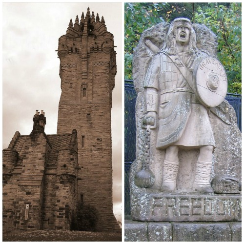 The Wallace Monument and Tom Church's 'Freedom' statue.